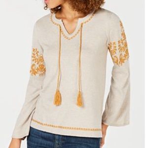 Style & Co Embroidered Peasant Sweater Small